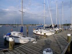 Molly am Steg der Seglereinigung Altona Ovelgönne eV. Der Steg versandet. Boote mit Tiefgang können nur außen anlegen.